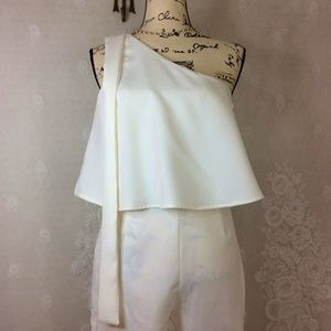 Misguided Ivory One Shoulder Jumpsuit 4